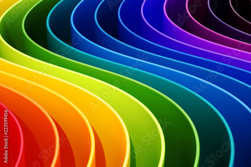Abstract rainbow colors curves background. 3D rendering © alexlmx