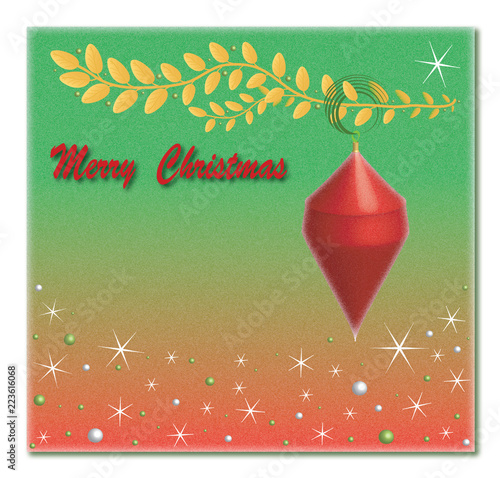 Merry christmas postdcard with place for your text. With the effect of frost. - 223616068