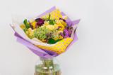 Floral wedding arrangement with various flowers