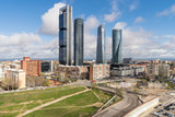 Madrid cityscape at daytime. Landscape of Madrid business building at Four Tower. Modern high building in business district area at Spain. - 223644029
