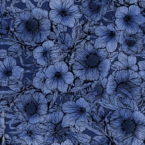 Floral seamless pattern, hand-made design. Ink on paper. - 223662600