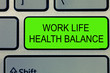 Leinwanddruck Bild - Conceptual hand writing showing Work Life Health Balance. Business photo text Stability and Harmony to prevent burnt out.