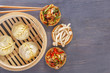 Traditional Chinese dishes - steam dumplings, hot salads, snacks Dam Sam. Top view. Copy space