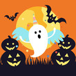 Halloween ghost in a unicorn costume. Full moon ghost with bat and pumpkin icon vector in flat style - 223672293