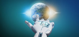 Cyborg hand holding a Earth globle particles 3d rendering - 223673253