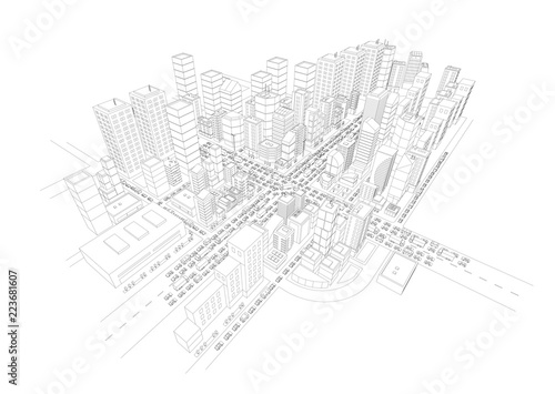 View of the big city panorama 3d contours