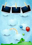 Surreal landscape with hanging clouds, balloons and photo frames - 223683265
