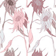 Blooming Flowers. Realistic isolated seamless flower pattern. Vintage background. Wallpaper. Hand drawn. Vector illustration. - 223684852