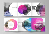 The minimal vector editable layout of two square format covers design templates for trifold square brochure, flyer, magazine. Creative modern bright background with colorful circles and round shapes.