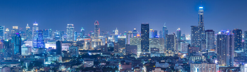 Bangkok business and travel landmark famous district urban skyline aerial view at night. © newroadboy