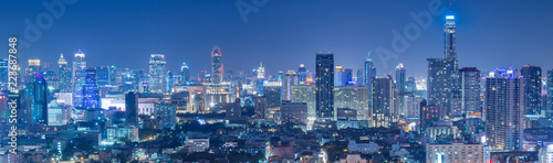 Bangkok business and travel landmark famous district urban skyline aerial view at night. - 223687848