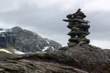 Stone cairn on a way to Trolltunga, Norway - 223691487