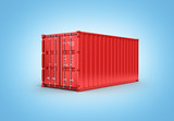 Red cargo shipping container without inscription on blue gradient background 3d without shadow - 223697684