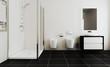 Scandinavian bathroom, classic  vintage interior design. 3D rendering.