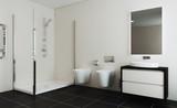 Spacious bathroom in gray tones with heated floors, freestanding tub. 3D rendering. - 223700215