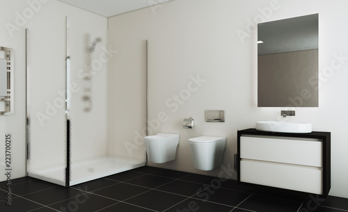 Spacious bathroom in gray tones with heated floors, freestanding tub. 3D rendering.