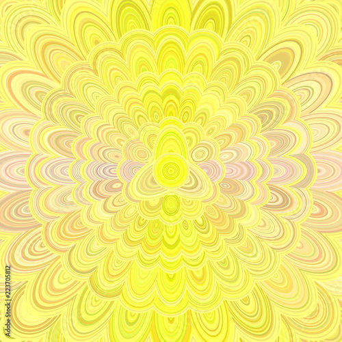 Yellow abstract flower mandala design background - vector digital art illustration