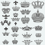 Huge collection of vector crowns for design - 223715494