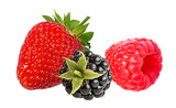 Blackberry, strawberries and raspberry isolated on white background