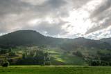 scenic landscape with cloudy sky and mountains in Gudvangen, Neirofjord, Norway