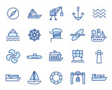 Hafen, Schiffe / Maritim Vector Icon Illustration Set