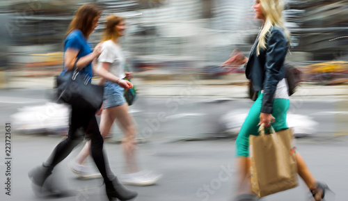 people shopping in the city - 223723631