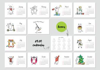 Enjoy every moment! Monthly calendar 2019 template with a cute white cat enjoying seasons. Bonus - 2020 calendar. Vector illustration 8 EPS.