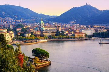 Como city town center on Lake Como, Italy, in warm sunset light © Boris Stroujko