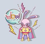 Superhero rabbit cartoon