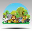 Fun Jungle Animals. zoo concept.