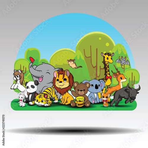 Fototapeta Fun Jungle Animals. zoo concept.