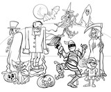 Halloween holiday cartoon spooky characters coloring book - 223742095