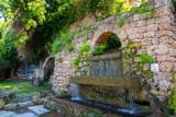 Water Fountain in french medieval Village Provence Barjols Fontaine Chutes du Réal, traditional village south F