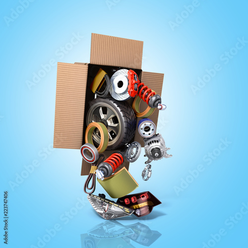 Fototapeta modern concept of vehicle maintenance automotive supplies delivery car parts in open box 3d render on a blue