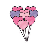 decorative bunch balloons shaped hearts - 223748031