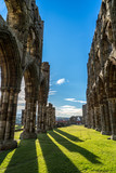 Whitby Abbey North Yorkshire Coast UK. Perched high on a cliff, the haunting remains of Whitby Abbey were inspiration for Bram Stoker's gothic tale of 'Dracula'.  - 223755210