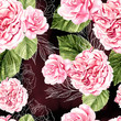 Beautiful watercolor pattern with roses and peony flowers. - 223762267