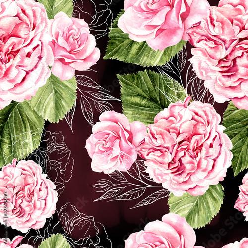 piekny-wzor-akwarela-z-roz-i-kwiaty-piwonii
