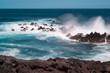 Waves crashing on rocks along the north Maui coast