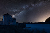 Beautiful night sky astrophotography landscape image of MILKY WAY over still lake - 223791864