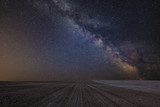 Vibrant Milky Way composite image over landscape of cultivated field - 223792000
