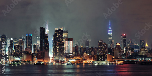 Foto Murales Manhattan midtown skyline at night