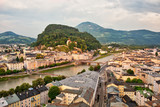 Aerial view to Salzburg historic center and river Salzach - 223811666