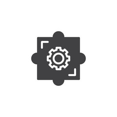 Puzzle gear vector icon. filled flat sign for mobile concept and web design. Business creativity simple solid icon. Symbol, logo illustration. Pixel perfect vector graphics © alekseyvanin