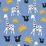 Seamless pattern with cute giraffe and tropical leaves. Kids fashion graphic. Vector hand drawn illustration. - 223819253