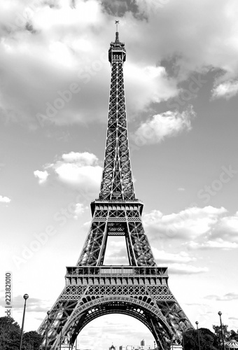 Eiffel Tower with black and white effect in Paris France - 223821010