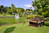 Tropical Santa Catarina park with pond and fountains, Funchal, Madeira Island, Portugal - 223824006