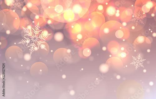 Boże Narodzenie ze światłami, bokeh i płatki śniegu,
