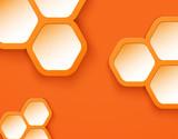 Orange background 3D hexagons shapes
