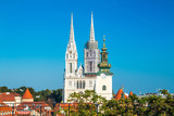 Cathedral in Zagreb, Croatia, view from Upper town  - 223829083